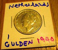 Netherlands 1 Gulden Silver Coin 1940 Wilhelmina ruler KM # 161.1