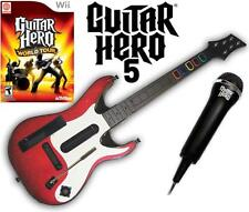 NEW Nintendo Wii Guitar Hero 5 guitar, GH World Tour Game & Microphone Bundle