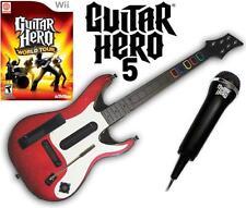 NEW Nintendo Wii Guitar Hero 5 Guitar, GH World Tour Game & Microphone Bundle
