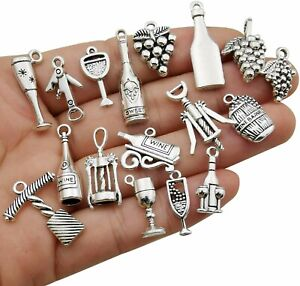 10 Wine Charms Themed Pendants Antiqued Silver Assorted Grape Country Findings