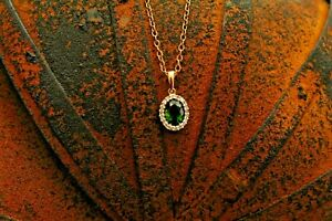 9ct yellow gold diopside and diamond cluster pendant CHAIN NOT INCLUDED 1.2g