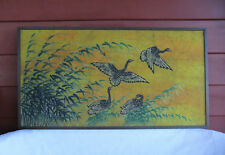 "Art of Batik Reed & Four Wild Goose Taiwan Painting Vintage Huge 48"" X 1""X 25"""