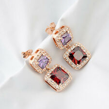 18K ROSE GOLD PLATED RUBY RED & AMETHYST CZ & AUSTRIAN CRYSTAL DANGLE EARRINGS