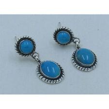 .925 Sterling Silver Natural Ocean Blue Kingman Turquoise Post Earrings