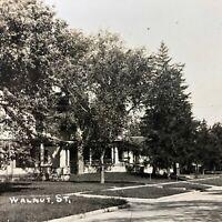 1900 -1907 RPPC Postcard Walnut Street Historic Homes Tree Lined Antique VTG Old
