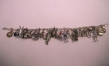 """Vintage Sterling Silver Charm  Sport Bracelet 8 """"+ bonus"""