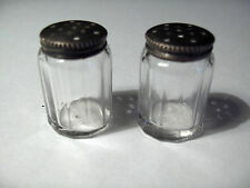 vintage small glass and silver salt and pepper shakers
