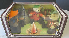 � Steiff Nimrod Teddy Bear Set Usa Limited Edition 1983 Campfire 0210/22 Nrfb �