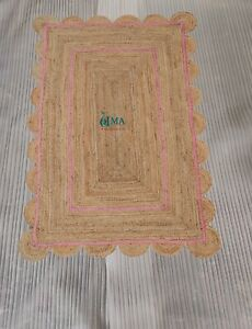 Light pink Scalloped Jute Rug, Scallop Rug Braided jute rug Natural Jute Rug Rag