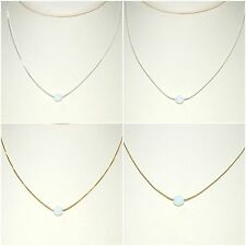 5mm White OPAL Bead 925 Sterling Silver or 14kt Gold Filled Chain NECKLACE