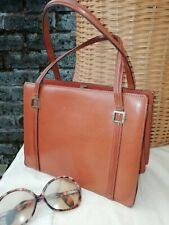 Vintage Original 50s 60s Tan Brown Genuine Leather Brass Grab Kelly Bag. Superb.