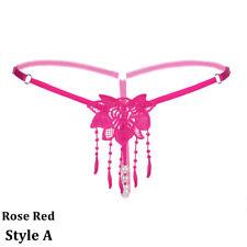 Women Open Crotch Lingerie Lace Thongs G-strings Hollow out Panties Briefs Blue
