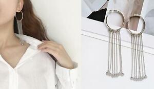 Silver Women's Long Tassels Rhinestone Drop Dangle Party Linear Eardrop Earrings