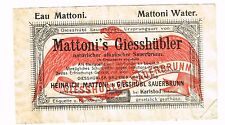 1900s Austria Mattoni's Geisshubler Medicinal Mineral Water Label Stephens Coll.