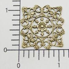 25063          Brass Oxidized Victorian Square Filigree Jewelry Finding