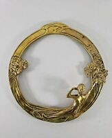 """Solid brass Art Deco round frame woman floral 11"""" wide"""