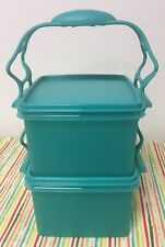 Tupperware Lunch Box Containers With Carry all Handle Teal 7 Cups (2) New