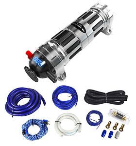 Soundstream Scx-4 4 Farad Car Audio Capacitor + Complete 0 Gauge Wire Kit W/ RCA