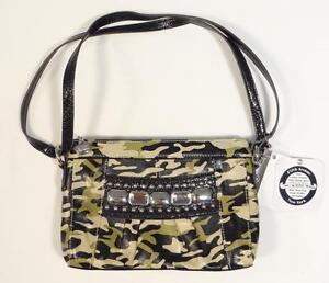 Kathy Van Zeeland Green Camouflage Monte Carlo Top Zip Bag Purse Handbag NWT