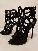 Giuseppe Zanotti 36 US 6 Colline Caged Sandals Heels Black Suede