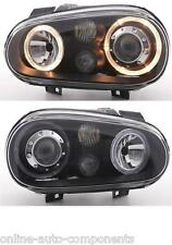 VW GOLF MK4 BLACK ANGEL EYE HEADLAMPS HEADLIGHTS PAIR WITH FOG LAMP