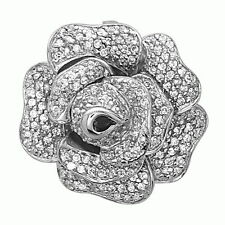 Sterling Silver Rose Flower Pendant with AAA quality CZ Micro Pave Setting