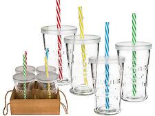 4 Trinkgläser Gläser Trinkglas Deckel Strohhalm Holzaufsteller Tablett Party-Set