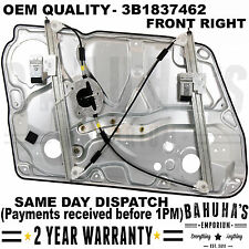 VW PASSAT B5 / SKODA SUPERB 3U4 FRONT RIGHT DRIVERS WINDOW REGULATOR WITH PANEL