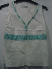 Marks & Spencer White Linen Vest with Green Beaded Sequinned Design Size 12