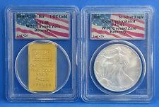 2001 Gem UNC Silver Eagle & Gold Swiss Credit WTC 2 Troy Oz Coin Set 1 of 426