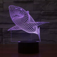 3D Nightlight Shark Creative 3D Visualization Lamp Touch-Switch LED 7 Colors 9''