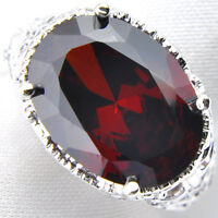 Trendy Gift 28.5 Cts Oval Natural Fire Red Garnet Gems Silver Ring Size 7 8 9