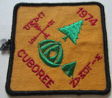 1974 CUBOREE CAMP Hand Woven Badge (ID=K35M)