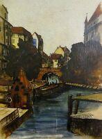 Alfred Donner-?Aquarell/Zeichnung 1936/37  LEDER-?: HAMBURG DIE ELLERNTORSBRÜCKE