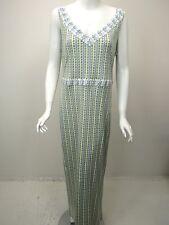 TORY BURCH White Sage Blue Print Silk Jersey V-Neck Maxi Dress sz XL