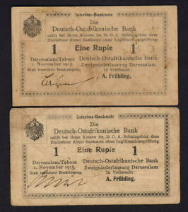 German East Africa P-12. 1915 1 Rupie x 2 Notes.. Letters H & P..  gVF & aEF