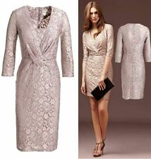 New REISS Andree Lilac Beige Lace Bodycon Pencil Cocktail Dress Size 12 BNWT