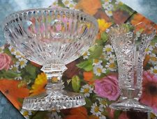 2tlg. Glas-Set💎Hochschale/Bonbonniere💎kleine Vase aus Bleikristall