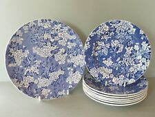 Leighton May Blossom Blue White Chintz - Bread or Cake Plate & 7 Dessert Plates