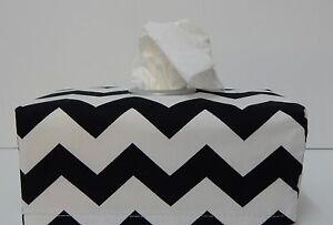 Black Chevron Tissue Box Cover With Circle Opening - Lovely Gift Idea