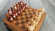 échiquier/jeu d'échec ancien bois theme Russie