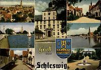 Schleswig Schlei Mehrbild-AK ca. 60/70er J. ua. Teilansichten Gebäude Strassen