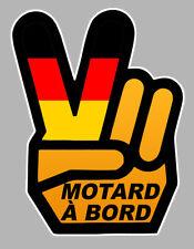 MOTARD A BORD MAIN VICTORY HAND GERMAN 12x9cm AUTOCOLLANT/STICKER - MOTO (MA163)