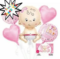5 Gender Reveal Its a Girl Foil Balloons Baby Shower Decorations birthday party