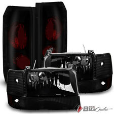 For 92-96 F150/F250/F350 Bronco Black Smoked Headlights + Tail Lights Combo