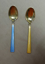 TH Marthinsen Norway Gold Wash Sterling Guilloché Enamel Spoons Crowns Pattern