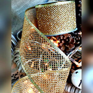 63mm Wired Glitter Gold Mesh Ribbon. Christmas, Wedding. Cake wrap, Wreath, Tree
