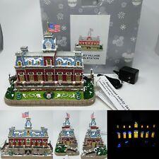 Disney Main Street Train Station Christmas Village Light Up House RARE Parks NEW