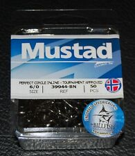 50 Mustad 39944BN-60 Classic In-Line Demon Perfect Circle Hooks Size 6/0