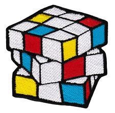 ab45 Gestickter Zauberwürfel Rubik Cube Aufnäher Bügelbild Patch 6,5 x 6,5 cm
